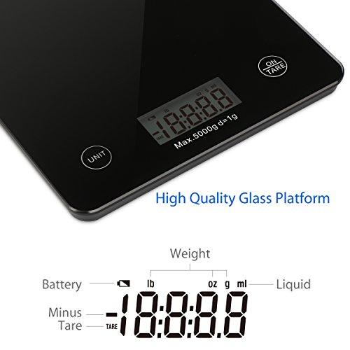 1byone báscula profesional táctil digital de cocina, báscula electrónica para hogar,vidrio templado en negro elegante,peso máximo 5000g 11lbs, negra