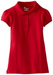 CLASSROOM Little Girls\'  Uniform Stretch Pique Polo, Red, Small
