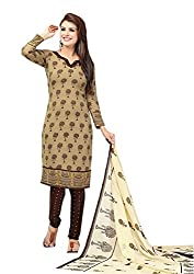 Nazaquat Brown Printed Crepe Unstitched Dress Material