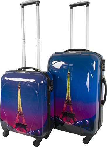 Cover rigida ABS-Set 2Trolley valigetta Set da viaggio con motivo, Paris Nightlife, M/L
