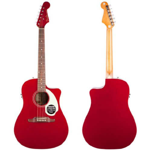 Fender Sonoran SCE Dreadnought Cutaway Acoustic-Electric Guitar with Fishman PreAmplifier and Built-In Tuner - Candy Apple Red with Matching Headstock