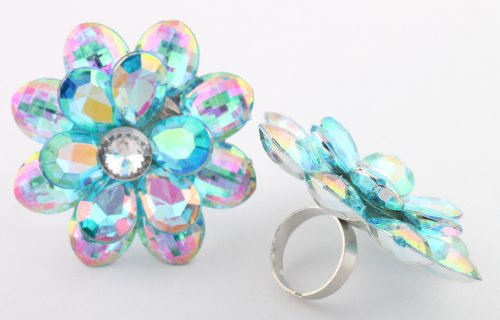 Ladies Blue Double Flower Metal Adjustable Ring with Multicolor Shine