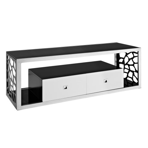 We Furniture Black Glass Modern Mosaic Tv Stand 60 Inch Laser
