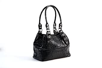Crocodee Black Crocodile Leather SamJuji Hobo Handbag Purse