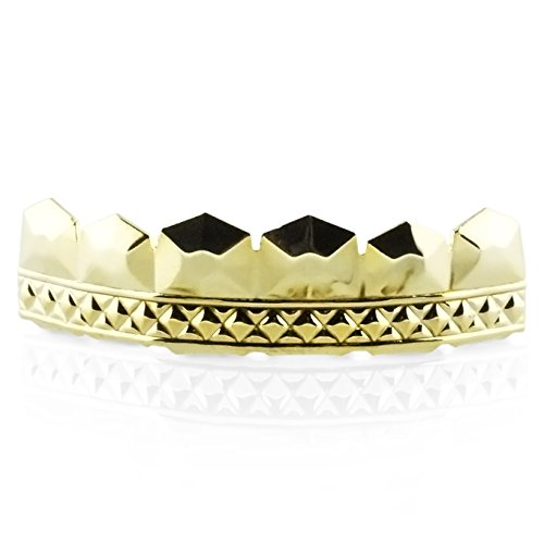 Premium Iced Out Hip Hop Gold Diamond Cut Top Removable Grillz