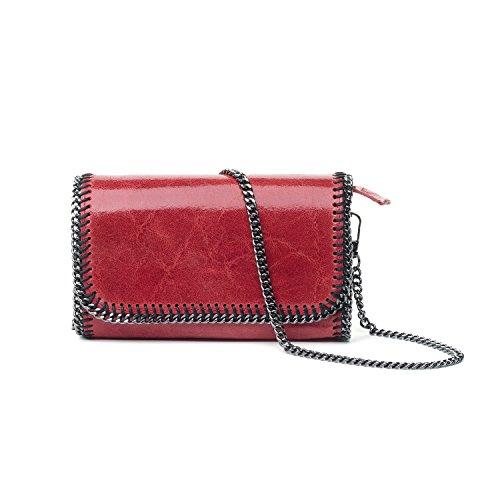 Almo - Borsa in pelle da donna made in Italy, colore: rosso, a tracolla o a spalla
