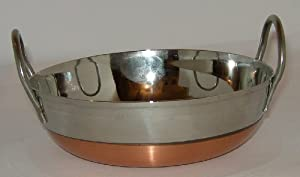 """Frying Pan S/s Copper Base Double Handle 8""""/20cm Flat Base Guaranteed Quality"""