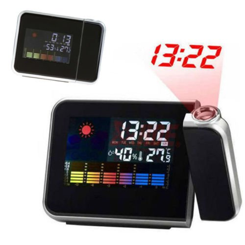 Digital Lcd Led Projector Alarm Clock Weather Station Forecast Calendar Us