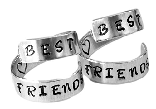 Best Friends Rings Two Aluminum Set Twist BFF Rings (Best Friends Rings compare prices)
