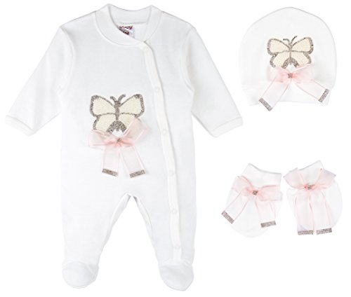 Lilax Baby Girl Jeweled Butterfly Layette 3 Piece Gift Set 3-6M