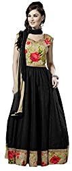 Khoobee Presents South Cotton Anarkali Dress Material(Black)