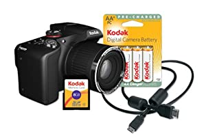 Kodak Z990 EasyShare Max Camera with 30x Optical Zoom and 12 MP (Black)[Bundle w/Memory Card, Rechargeable Batteries, HDMI Cable and Memory Card]