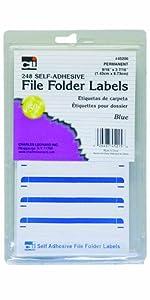 Charles Leonard Inc. File Folder Labels, 0.56 x 3.43 Inches, Blue, 248/box (45215)