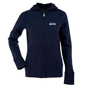 Seattle Seahawks Ladies Zip Front Hoody Sweatshirt (Team Color) by Antigua