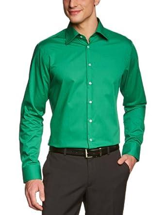 Schwarze Rose Herren Businesshemd Slim Fit 226200, Gr. 37, Grün (75 grün)