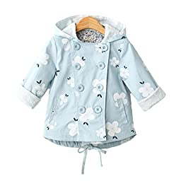 Baby Girls Double-Breasted Long Sleeve Printing Hooded Trench Coat Jacket 2-3T Light Blue