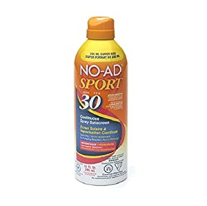 No-Ad Sport Continuous Spray Sunscreen, SPF 30 - 10 Ounce, (3 Pack)