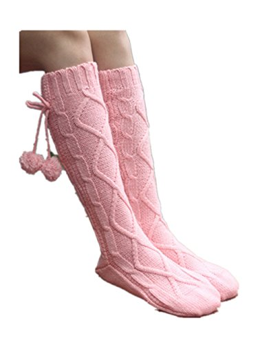 Women Knitted Knee High Slipper Socks with Grips Anti-skid Boot Socks Blue