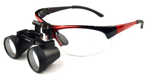 Dental Surgical Medical Binocular Loupes -- 2.5X Power With 550Mm Working Distance -- Flip Up Red Sports Frame