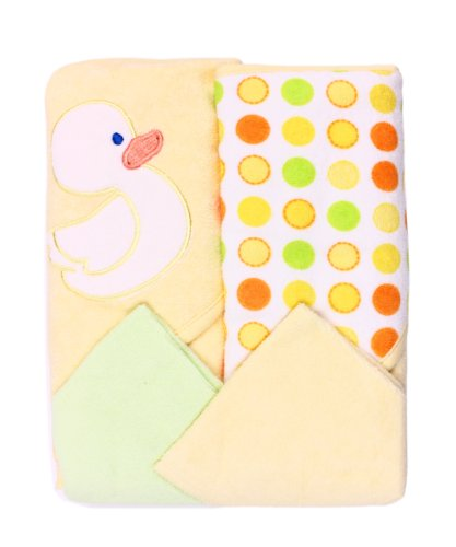 SpasilkHooded Terry Bath Towel with Washcloths, Duck Yellow, 2-Count
