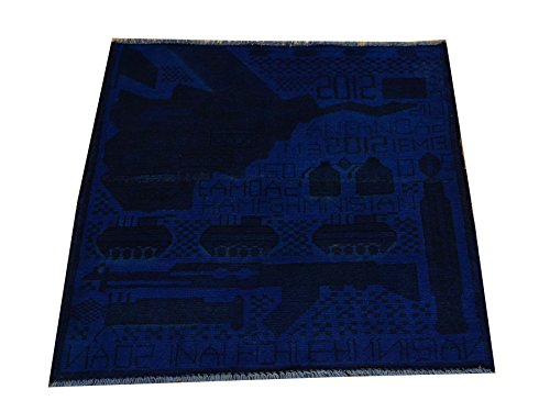 Hand Knotted Overdyed Afghan War Map And Gun 2'X2' Square Oriental Rug Sh18421