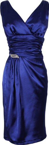 Satin Formal Little Black Dress Crystal Pin Prom Bridesmaid Junior Plus Size, Size: Medium, Color: Royal