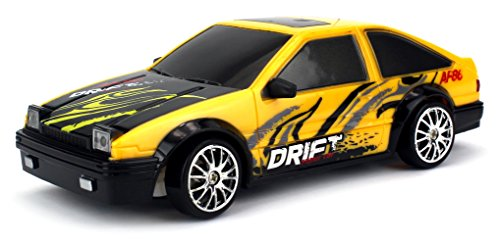 Drift King Retro Legend Remote Control RC Drifting Racing Race Car 1:24 Scale Size Ready To Run w/ Bright LED Lights, Extra Set of Grip Tires (Colors May Vary) (Drifting Rc Cars compare prices)