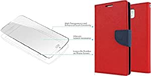 Generic Flip Cover For Nokia X2 With Tempered Glass (Red)
