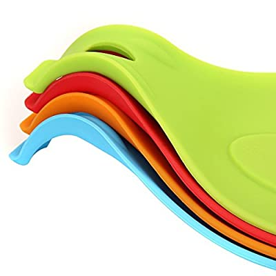 Talsid Products Multipurpose Silicone Spoon Rest Bundle Set of 4 and Free Delicious Recipes E-book
