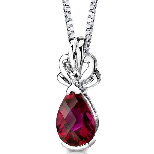 Revoni 925 Sterling Silver Pear Shape Checker Board Cut Ruby Pendant with Necklace of 46cm