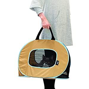 Portable Ultra Light and Sturdy Cat Carrier -Top load,Folds up flat,see out from everywhere,best take to vet clinic,comfort soft bag,Easy to wash
