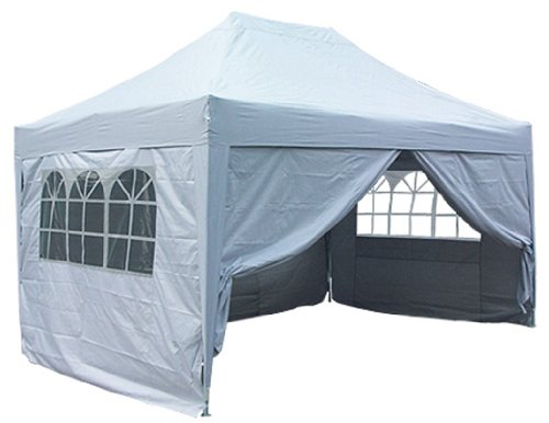 Quictent 3x4.5 Meter Silver Pop Up Gazebo Canopy Silver-coated Waterproof With Sidewalls and Bag