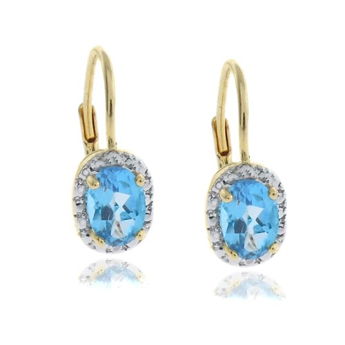 18k Gold Overlay Diamond Accent Blue Topaz December Birthstone Leverback Earrings