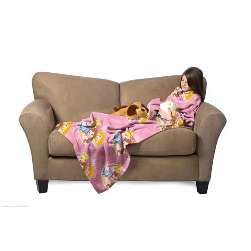 "Northwest Company Youth Comfy Throw Blanket With Sleeves, Disney Princess ""Royal Cameo"" Design"