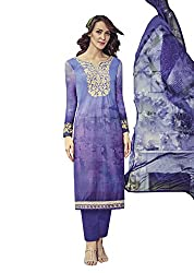 Lebaas Designer Violet Lawn Cotton A-Line Suit (Unstitched Dress Material) - (With Discount and Sale Offer)