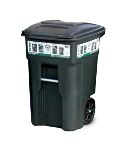 Toter 025548 R1GRS Residential Heavy Duty 2 Wheeled Trash Can Wit