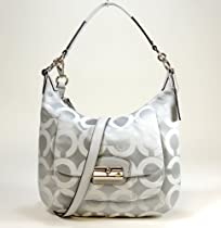Coach Kristin Op Art Signature Shoulder Hobo Bag Purse 19331 Grey