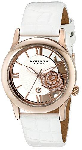 Akribos XXIV AK837WTR 34mm Metal Case White Calfskin Synthetic Sapphire Women's Watch