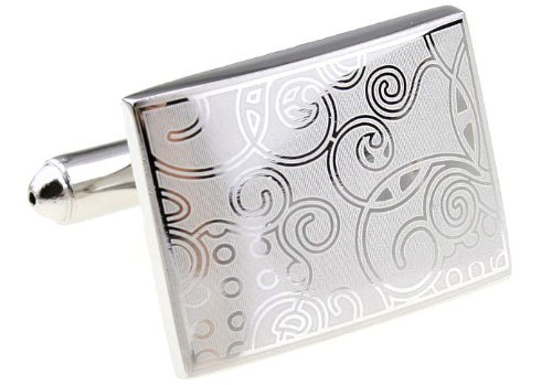 Swank Cufflinks Silver tone Metal with Carved Design rectangular Cuff Links