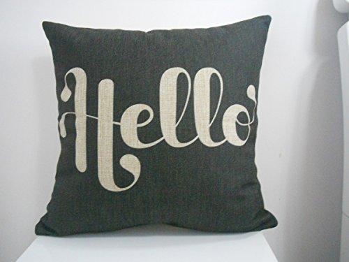 "Decorbox Cotton Linen Square Fashion Throw Pillow Case Shell Decorative Cushion Cover Pillowcase Black White Hello 18 ""X18 """
