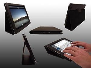 LuvTab Apple iPad Tasche Case Hülle, Mit Aufsteller Funktion, Unterstützt Sleep / Wake Smart Cover Funktion, Alle iPad 2, 3 & 4 Modelle (2011 & 2012 - neue iPad mit Retina / HD display), Schwarz