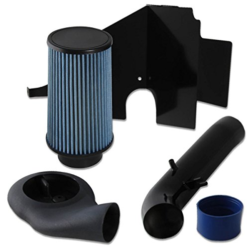 Jeep Grand Cherokee 5.2L V8 Black Cold Air Intake Pipe+Heat Shield+Blue Filter (Jeep Grand Cherokee Cool Intake compare prices)