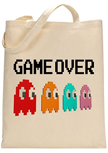 Pac-Man Four Ghosts Game Over Fan Custom Made Tote Bag  - 100% natural 100 GSM cotton