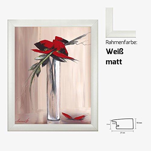 Kunstdruck TRAMONI - Les fleurs rouges I Blumenmotiv roter Blumenstrauß in Vase 40 x 50 cm mit MDF-Bilderrahmen & Acrylglas reflexfrei, viele Farben zur Auswahl, hier Weiß matt