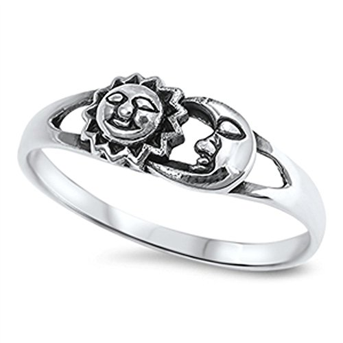 Sun Moon Universe Space Fashion Ring New .925 Sterling Silver Band Size 9 (RNG14842-9) (Thumb Rings compare prices)