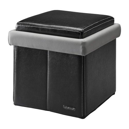 LevelUp Arcade Universal Folding Gaming Storage Ottoman - Gray/Black