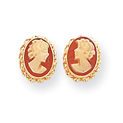 Cameo Woman Head Earrings In 14Kt Yellow Gold - Special Shape - Pressure Backs