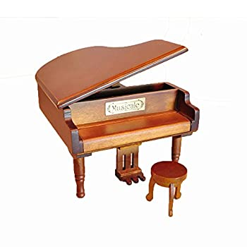 Laxury Antique Vintage Wind up Wooden Music Box Musical Piano Play Always with Me of the Spirited Away, Different Color Available (Wood)