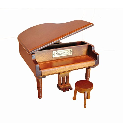 Laxury Antique Vintage Wind up Wooden Music Box Musical Piano Play Always with Me of the Spirited Away, Different Color Available (Wood) 0