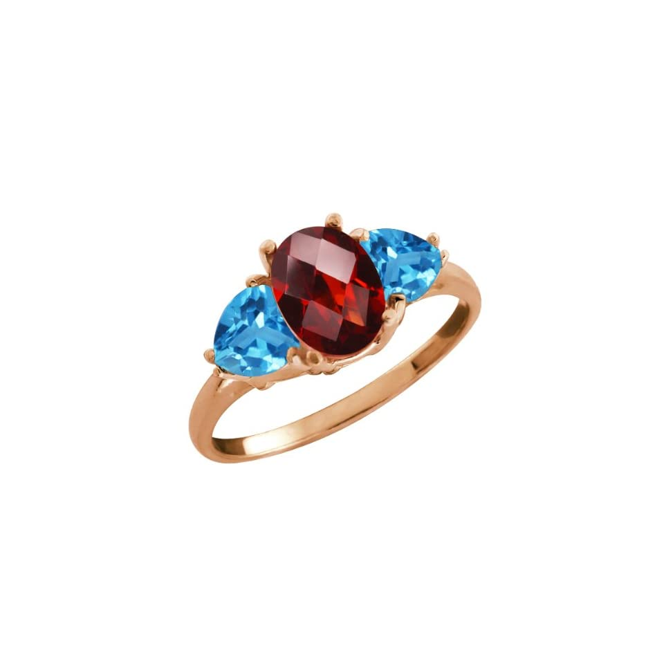 2.56 Ct Checkerboard Red Garnet and Swiss Blue Topaz 18k Rose Gold Ring